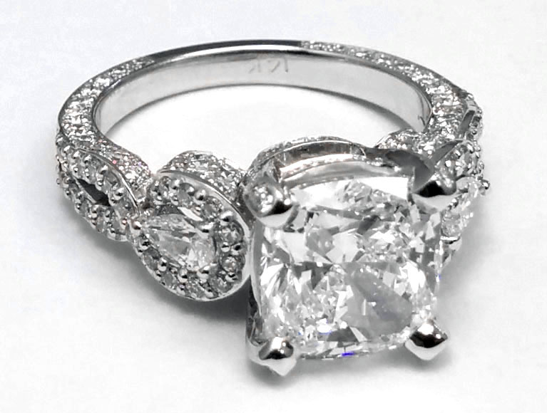Large Cushion Diamond Vintage Engagement Ring