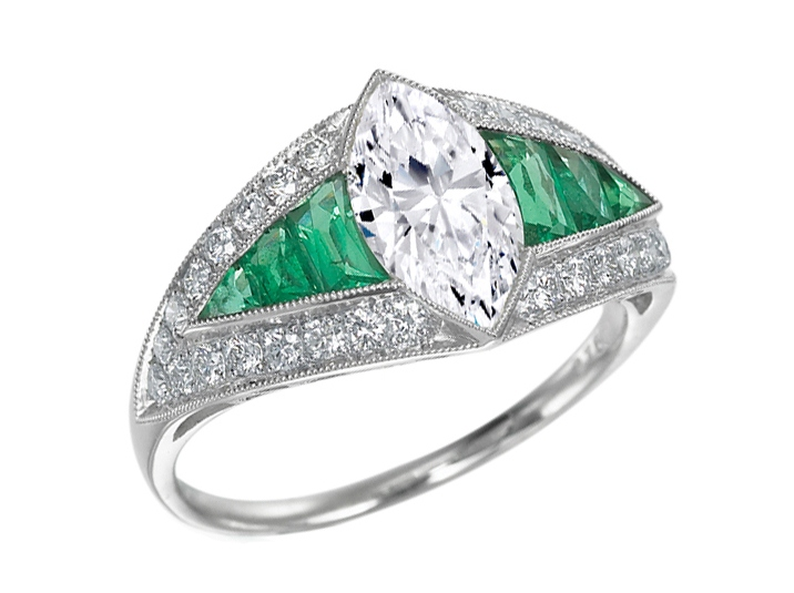 Art Deco Marquise Cut Diamond Anniversary Ring with Emeralds & Pave