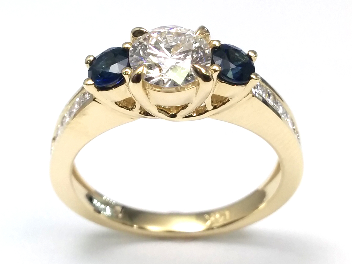 Three Stone Diamond & Sapphire Engagement Ring in 14K Yellow gold