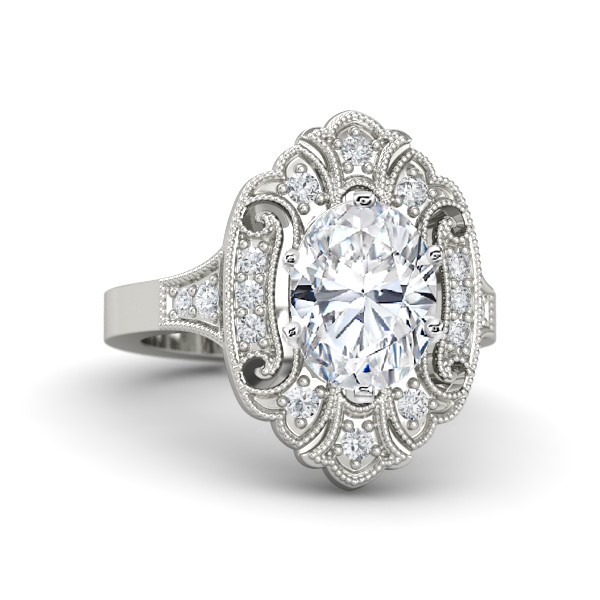 Oval Diamond Art Deco Engagement Ring
