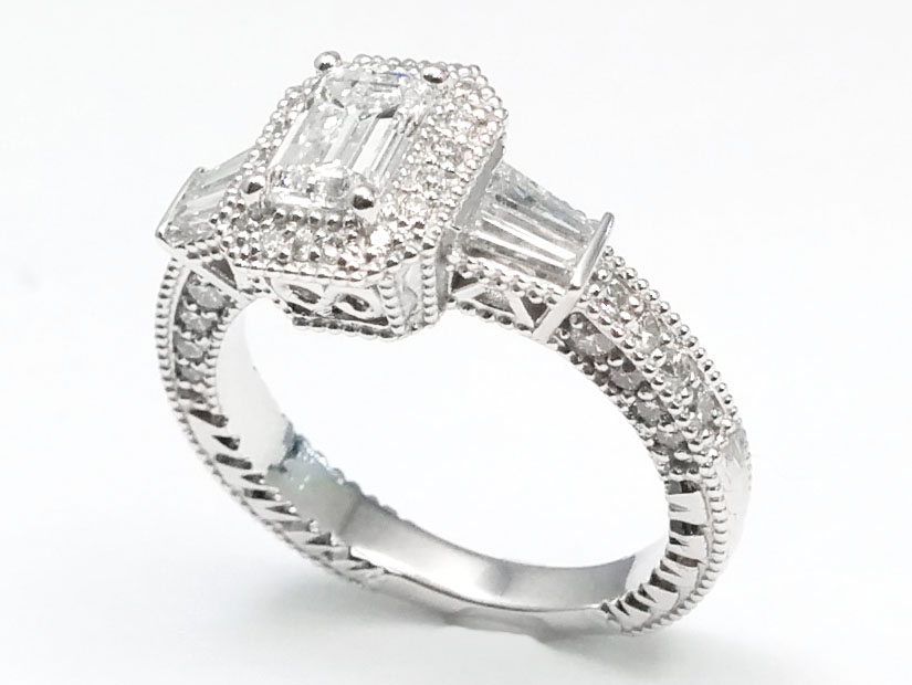 Emerald Cut Diamond Halo Engagement Ring Baguette side stones in 14K White Gold