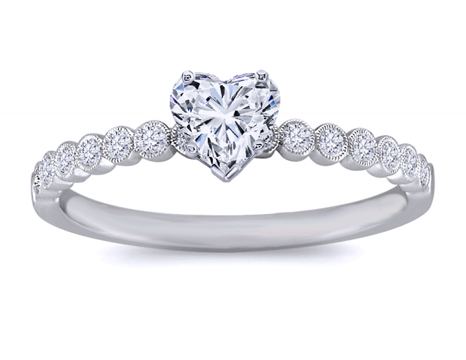 Petite Heart Diamond Engagement Ring 14 Stone Vintage Diamond Band in 14K White Gold
