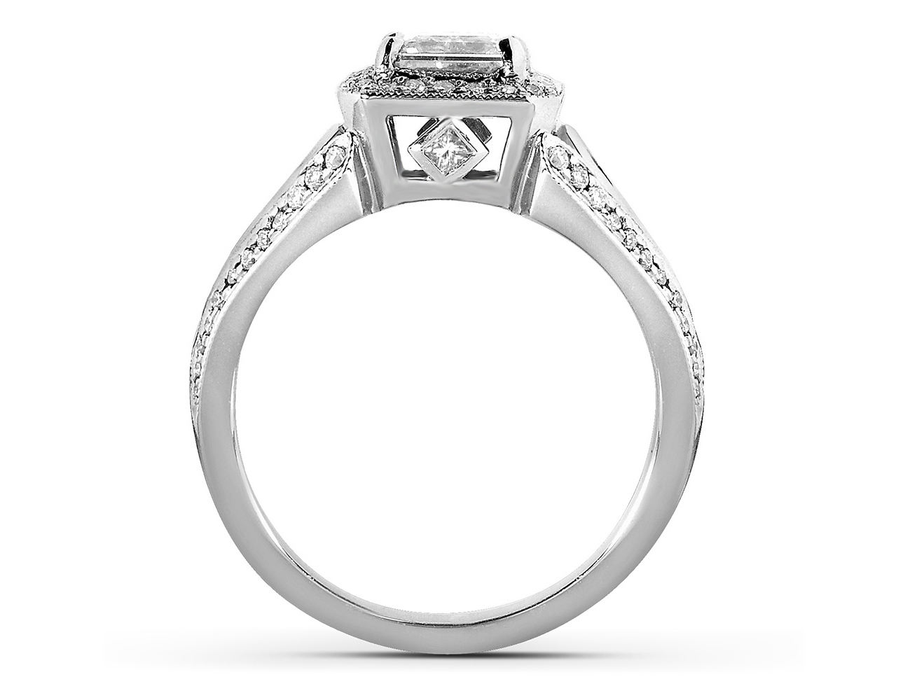Radiant Diamond Halo Engagement Ring with Kite Shaped Accents