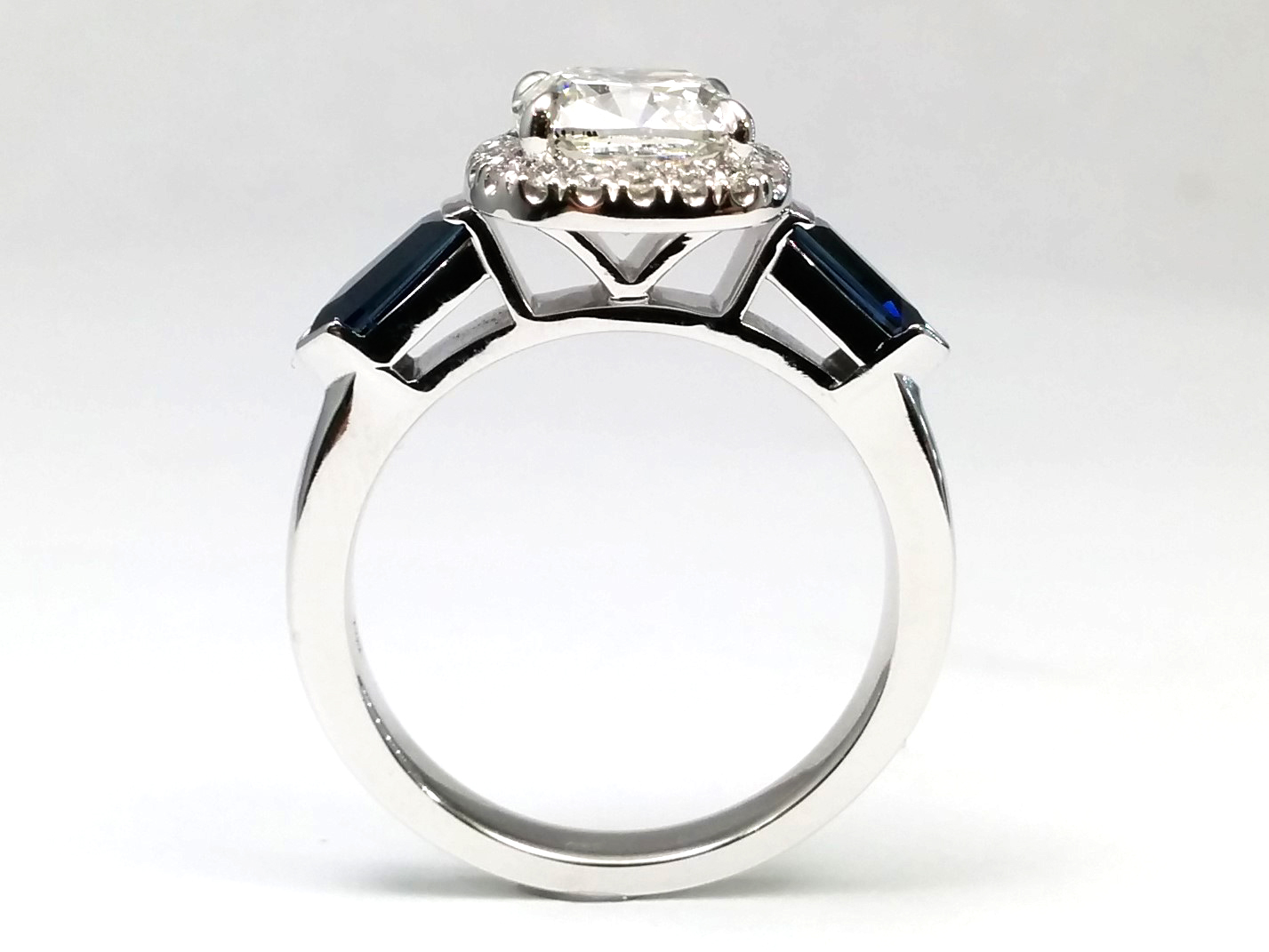 Diamond Halo Engagement Ring, Blue Sapphire Bullet Sides