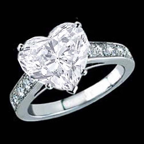 engagement ring heart shape diamond cathedral engagement