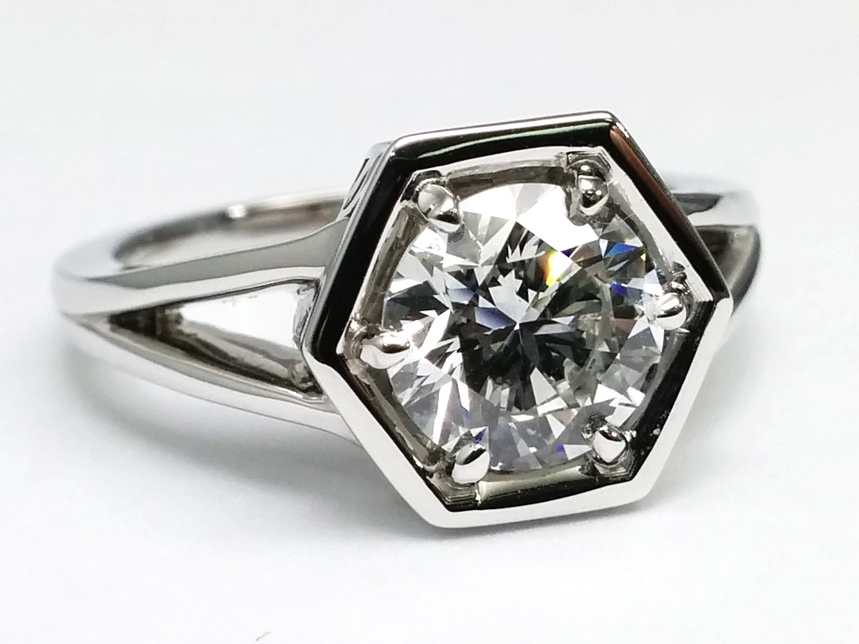 Hexagon Solitaire Split Band Engagement Ring