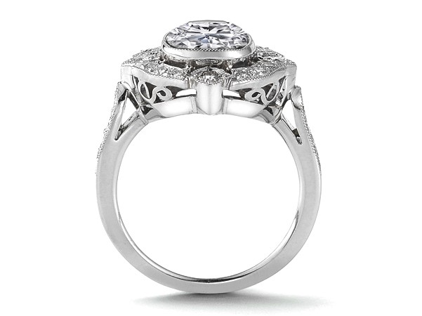 Bezel Set Cushion Diamond Halo Engagement Ring, in 14k White Gold
