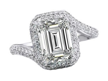 Double Halo Swirl Emerald Cut Diamond Engagement Ring in 14k White Gold