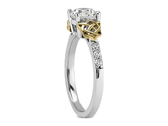 Two Tone Double Celtic Diamond Engagement Ring & Matching Wedding Band
