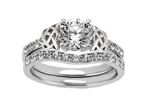 Double Celtic Diamond Engagement Ring & Matching Wedding Band
