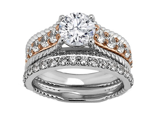 Rope Diamond Bridal Set in 14k White Gold and 14k Rose gold