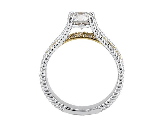 Rope Bridge Bridal Set With Diamond Accents in 14k White Gold and 14k Yellow Gold