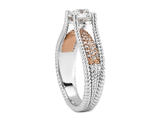 Rope Bridge Bridal Set With Diamond Accents in 14k White Gold and 14k Rose Gold