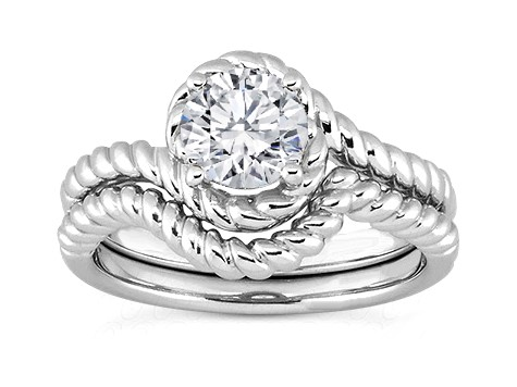 Halo Rope Solitaire Bridal Set in 14k White Gold