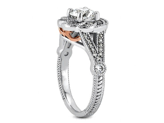 Floral Halo Diamond Engagement Ring in 14k White Gold with Rose Gold Filigree