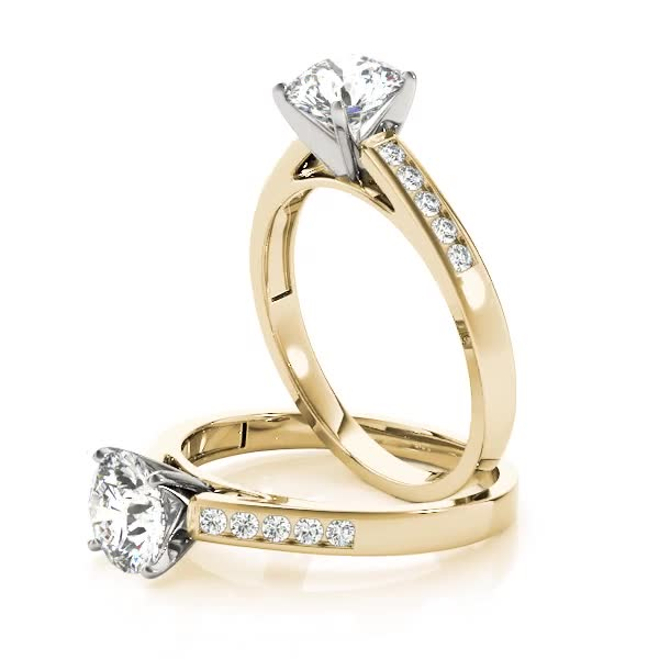 Classic Channel Set Diamond Cathedral Engagement Ring in Yellow Gold