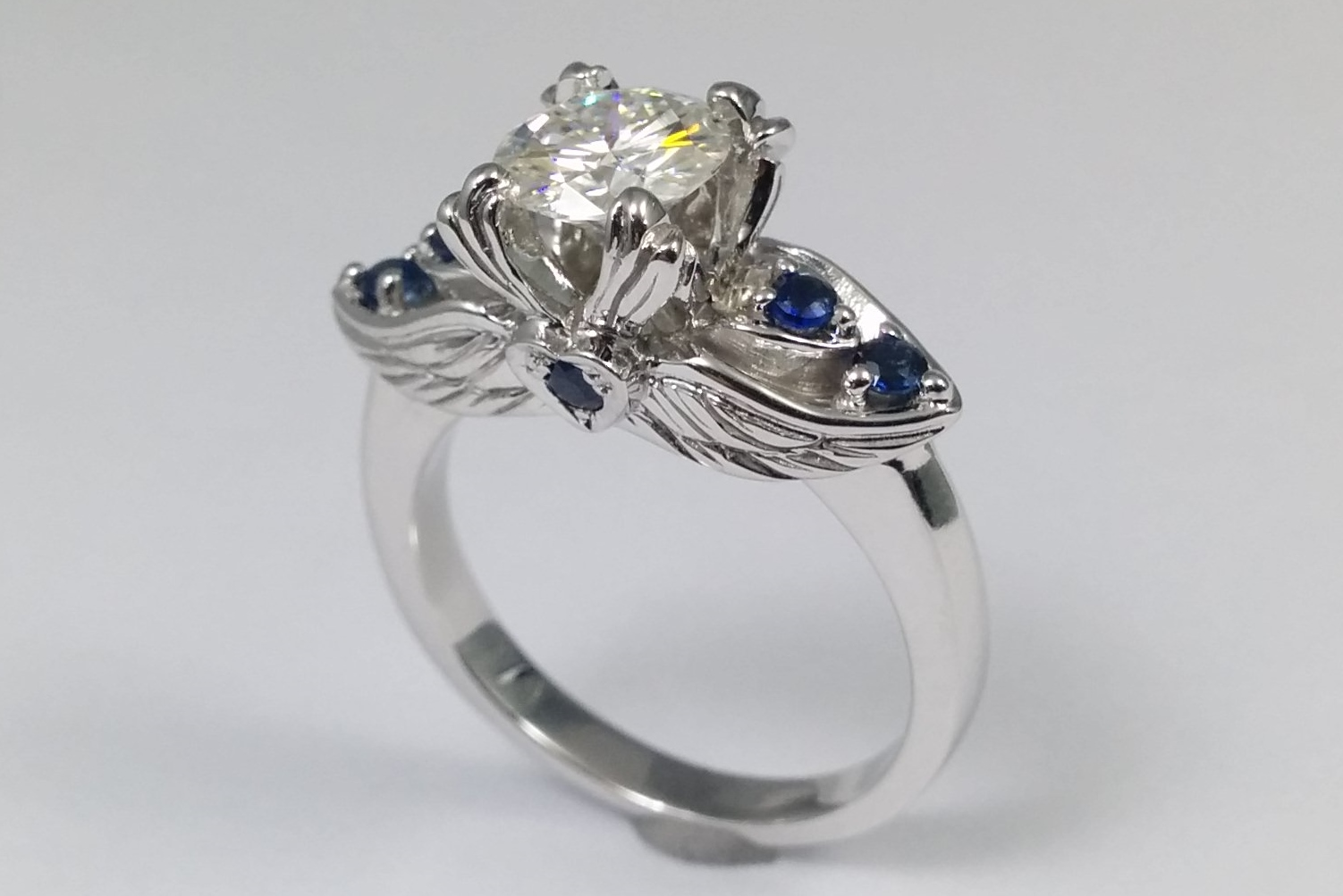 Sapphires & Engraved Wings Engagement Ring
