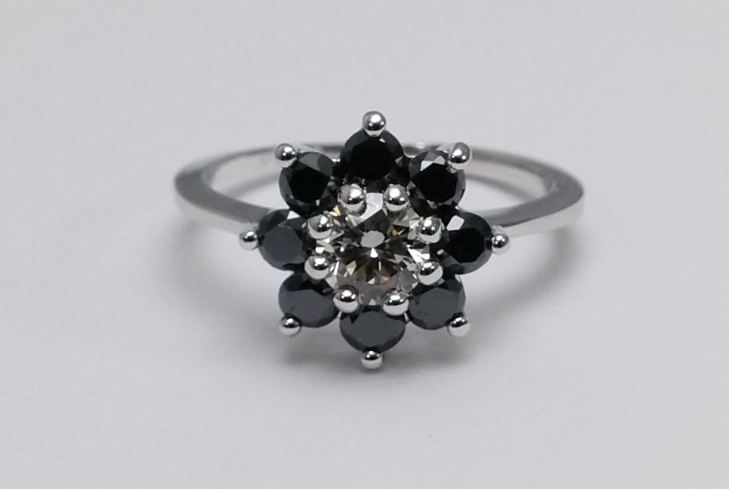 Black Diamond Floral Engagement Ring