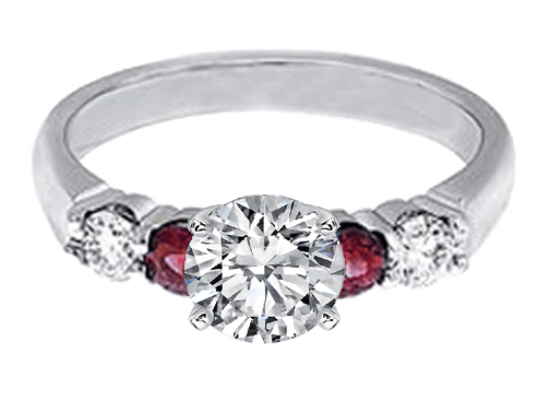 Diamonds and Ruby Engagement Ring, 0.40 tcw