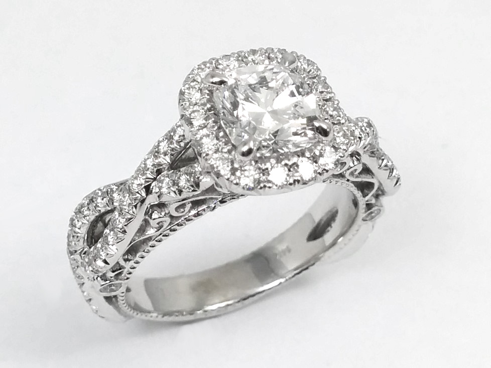 Intertwined Filigree Cushion Diamond Engagement Ring