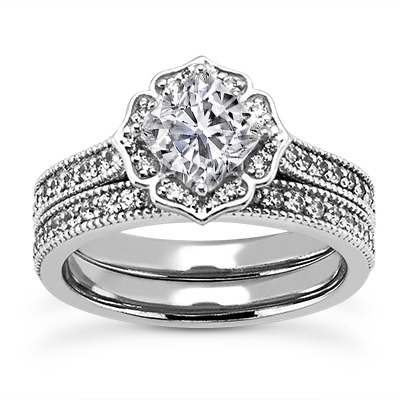 Vintage Style Floral Cathedral Engagement Ring for a Cushion Diamond and Matching Band