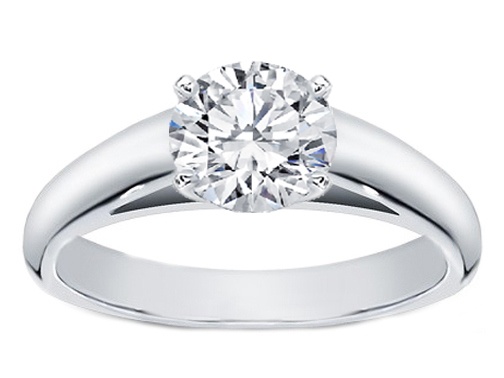Cathedral Solitaire Diamond Engagement Ring in 14K White Gold