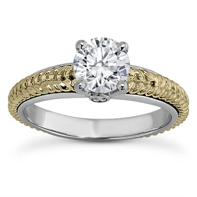 Rope Band Round Diamond Engagement Ring with A Surprise Diamond