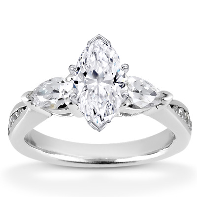 Marquise and Pear Shaped Three Stone Engagement Ring