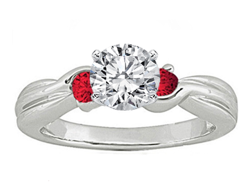 Swirl Diamond Engagement Ring Rubies side stones 0.20 tcw. In 14K White Gold