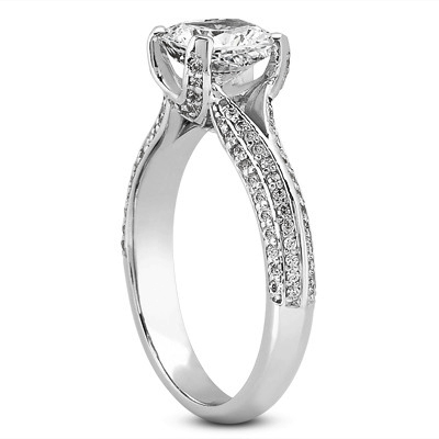 Split Band Cushion Diamond Knife Edge Engagement Ring