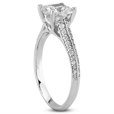 Knife Edge Cushion Diamond Petite Engagement Ring