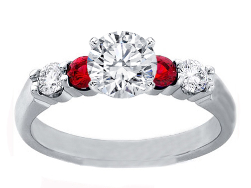 Diamond Engagement ring Diamond & Ruby side stones 0.20 tcw. In 14K White Gold