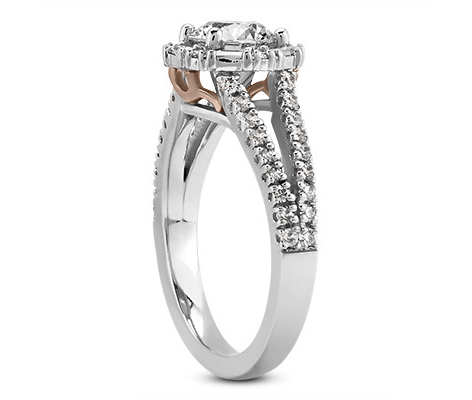 Hexagon Halo Baguette and Round Diamond Split Band Engagement Ring