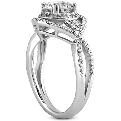 Intertwined Halo Celtic Engagement Ring with A Split Band