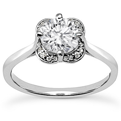 Floral Diamond Halo Engagement Ring with A Plain Band