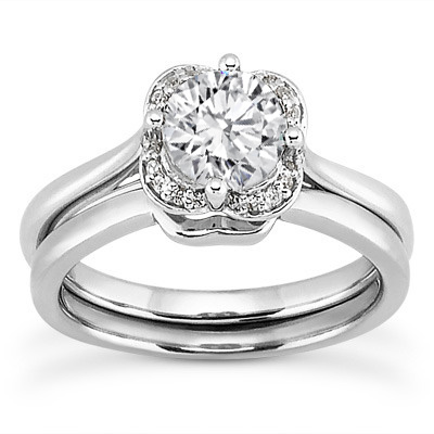 Floral Diamond Halo Ring and Matching Curved Wedding Band