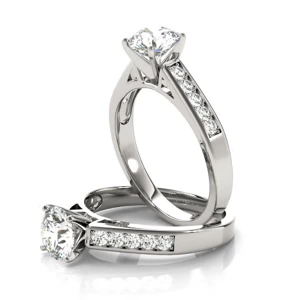 Classic Cathedral Pave Diamond Engagement Ring