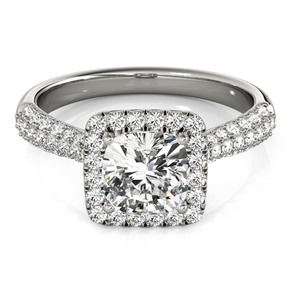 Etoil Style Cushion Diamond Halo Engagement Ring