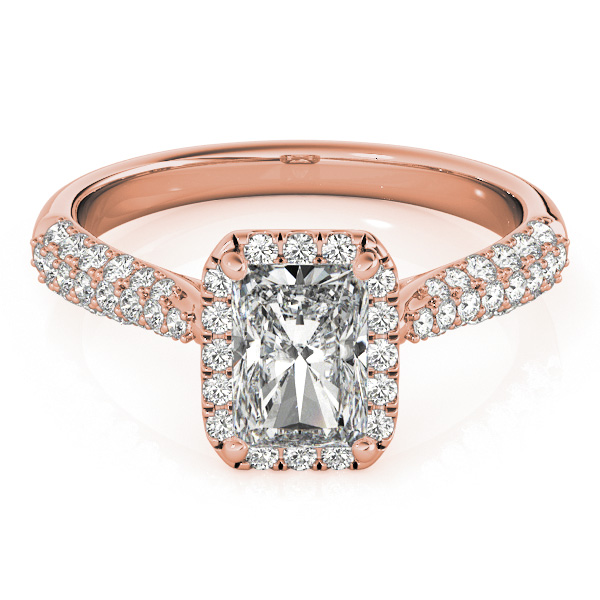 Etoil Style Radiant Diamond Halo Engagement Ring in Rose Gold
