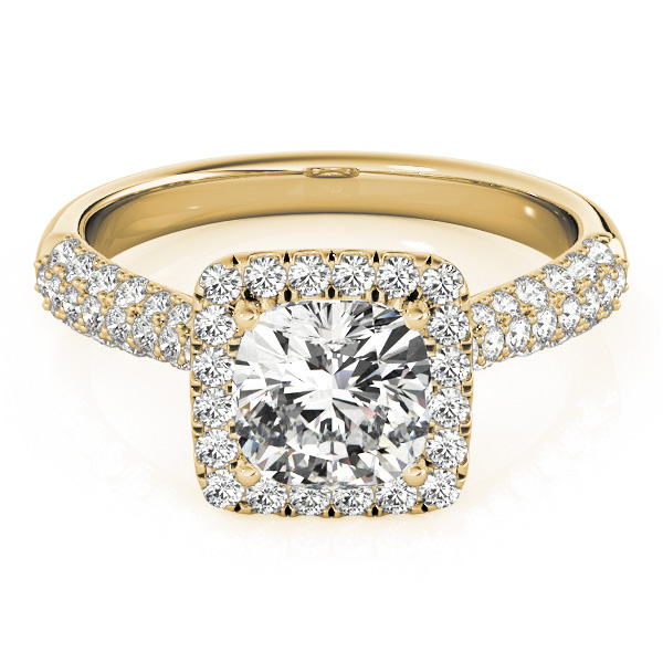 Etoil Style Cushion Diamond Halo Engagement Ring in Yellow Gold