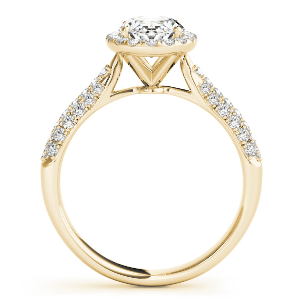 Etoil Style Oval Diamond Halo Engagement Ring in Yellow Gold