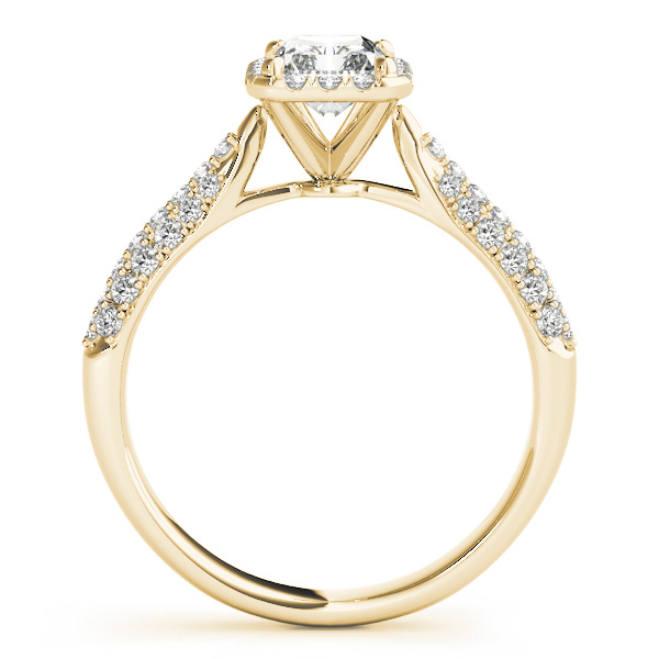 Etoil Style Radiant Diamond Halo Engagement Ring in Yellow Gold