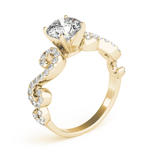 Infinity Diamond Engagement Ring Yellow Gold
