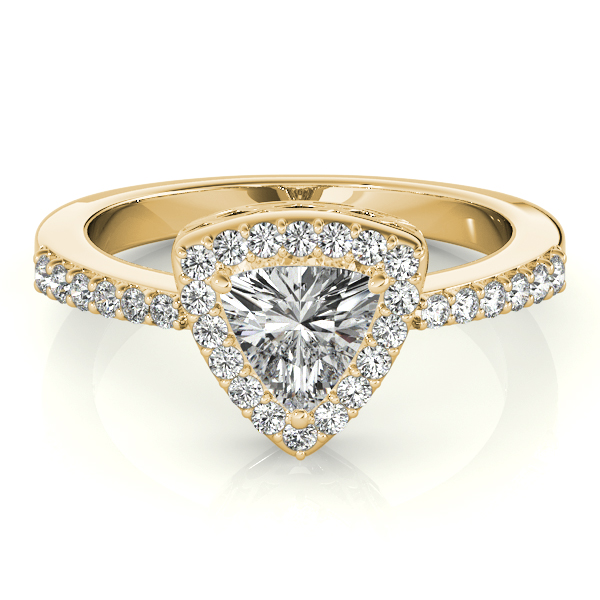 Trillion Halo Filigree Engagement Ring in Yellow Gold