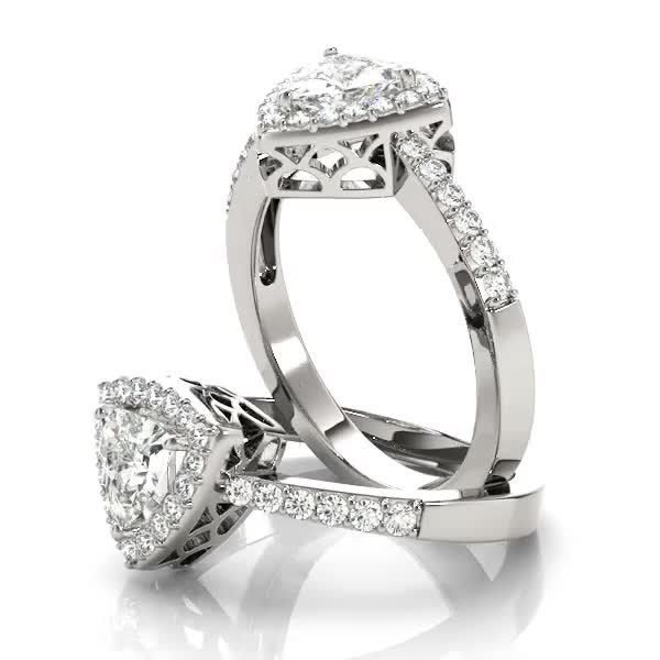 Trillion Halo Filigree Engagement Ring