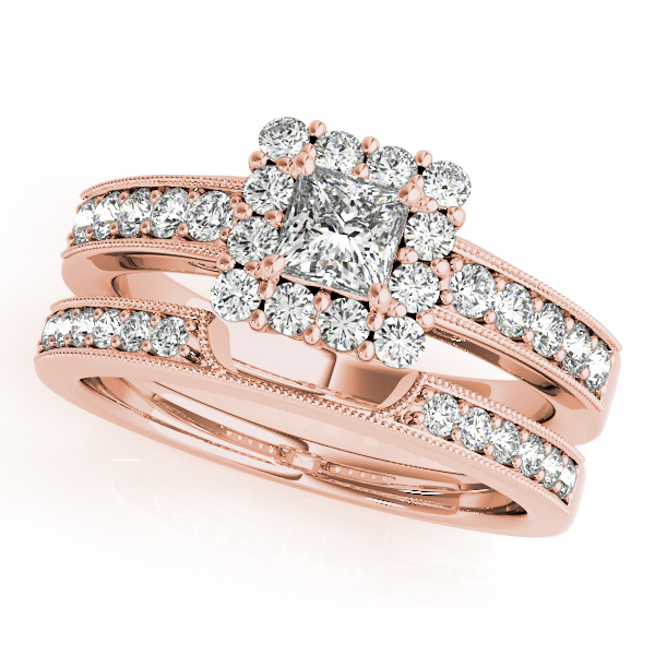 Princess Diamond Halo Bridal Set in Rose Gold
