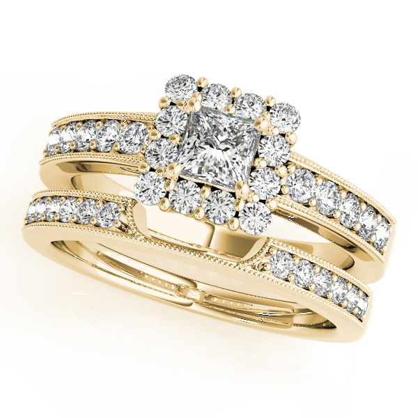 Princess Diamond Halo Bridal Set in Yellow Gold