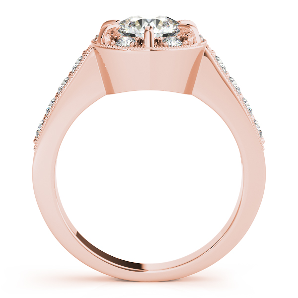 Diamond Halo Bridal Set with Milligrain Edging in Rose Gold