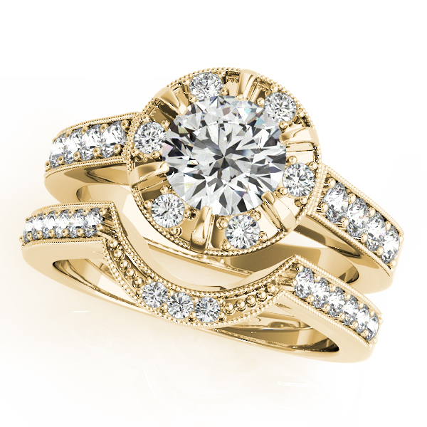 Diamond Halo Bridal Set with Milligrain Edging in Yellow Gold