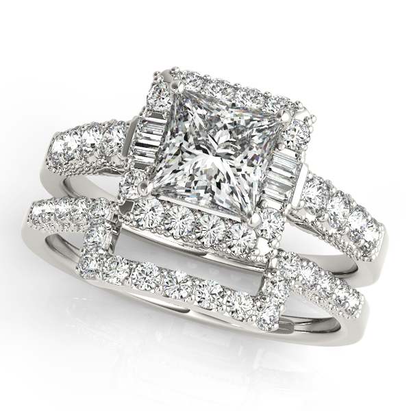 Princess Diamond and Baguette Halo Bridal Set